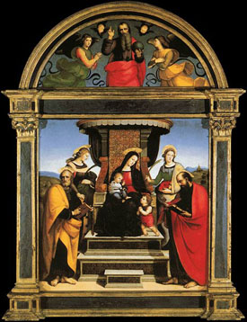 from Raphael's Colonna Altarpiece (Metropolitan Museum, 1505)