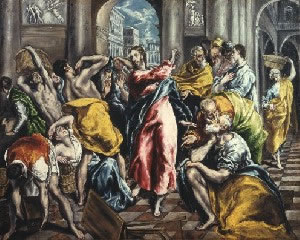 El Greco's Purification of the Temple (Frick Collection, photo by Richard di Liberto, New York, c. 1600)