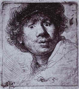 Rembrandt's Self-Portrait with Wide-Open Eyes (Rijksmuseum, 1630)