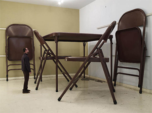Robert Therrien's No Title (Folding Table and Chairs) (photo by Joshua White, Gagosian, 2007)