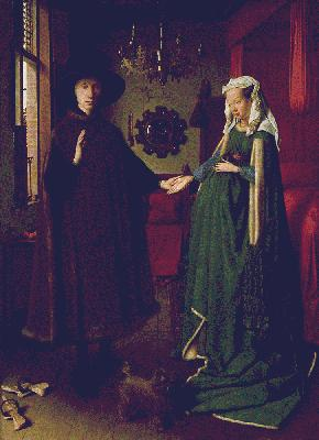 Jan van Eyck's Arnolfini and His Wife (National Gallery, London, c. 1434)